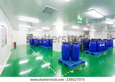pharmaceutical factory workshop interior - stock photo