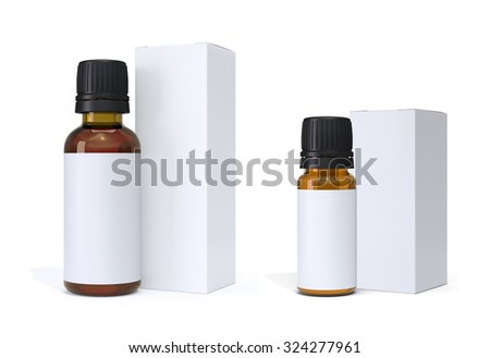 Pharmaceutical Glass Bottles and Packages Mock Up  - stock photo