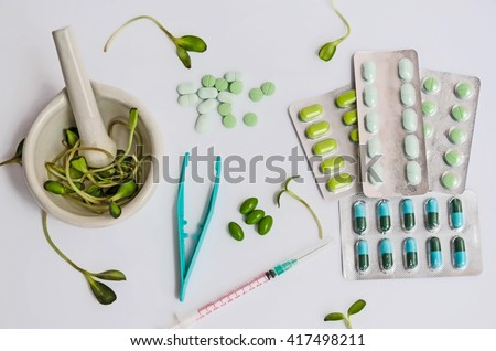 Pharmaceutical preparations herbal medicines & pills medicine & medicine injection ,soft focus  - stock photo