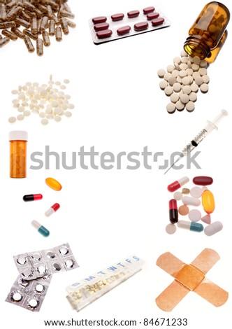 Pharmaceutical products on plain background - stock photo