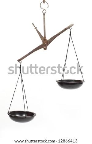 pharmaceutical scales unbalanced isolated on white - stock photo