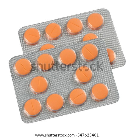 Pharmaceutical tablets in blister pack isolated on white background without shadows