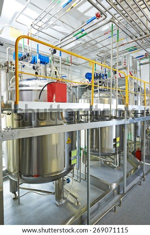 Pharmaceutical technology equipment facility for water preparation, cleaning and treatment at pharmacy plant - stock photo