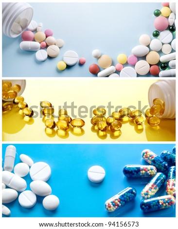 Pharmaceutics collection. Health background - stock photo