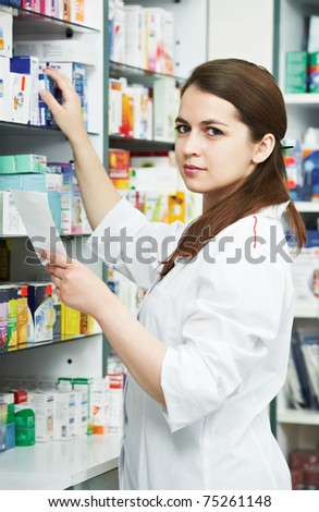 pharmacist chemist woman standing in pharmacy drugstore with recipe