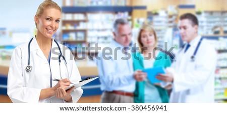 Pharmacist Doctor woman. - stock photo
