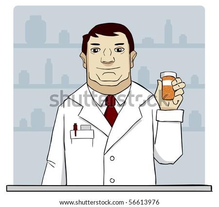 Pharmacist is offering good pills. - stock photo