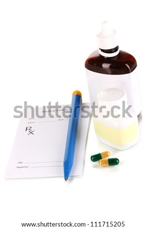 Pharmacist prescription with drops and pills isolated on white - stock photo