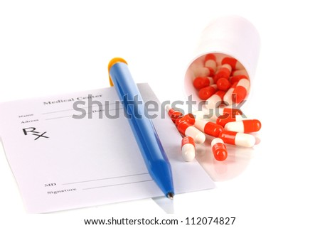 Pharmacist prescription with pills isolated on white