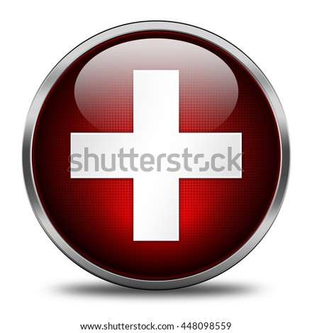 pharmacy button isolated on white background. 3d render