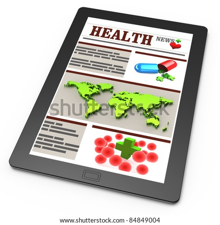 Pharmacy news on touchscreen or tablet pc - stock photo