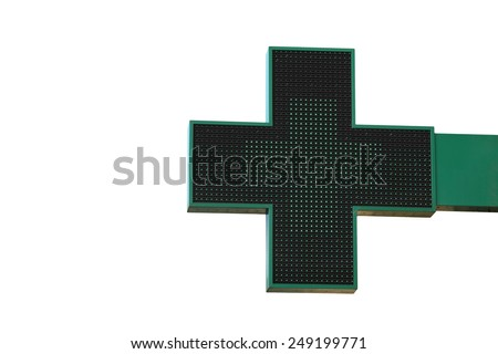 Pharmacy sign isolated. Green pharmacy cross with LED backlight. - stock photo