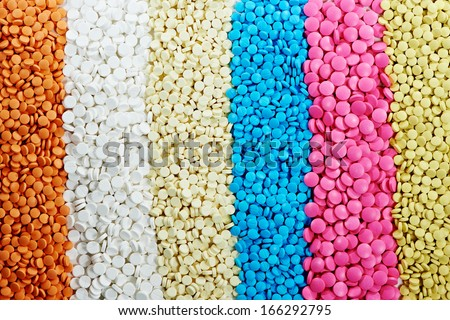 Pharmacy theme, Heap of white round medicine tablet antibiotic pills - stock photo