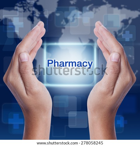 pharmacy word button on screen. medical concept - stock photo