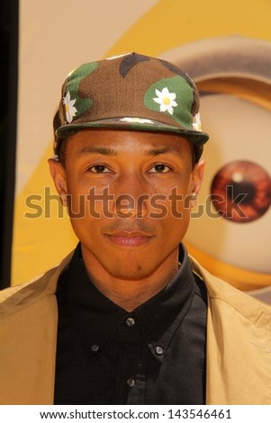 "Pharrell Williams at the ""Despicable Me 2"" Los Angeles Premiere, Universal Citiwalk, Universal City, CA 06-22-13 - stock photo"