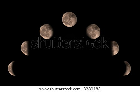 Phases of the moon in a composition. - stock photo