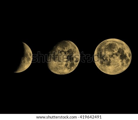 Phases of the Moon seen with telescope vintage sepia - stock photo