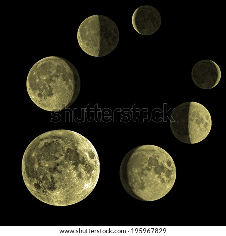 Phases of the Moon through one month.