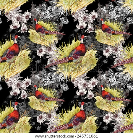 Pheasant animals birds in floral seamless pattern on black background