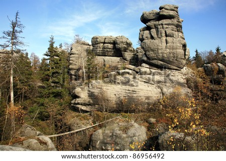 Phenomenon of nature – Stolowe ( Table ) Mountains – rock formations in National Park – Poland near Pasterka village.