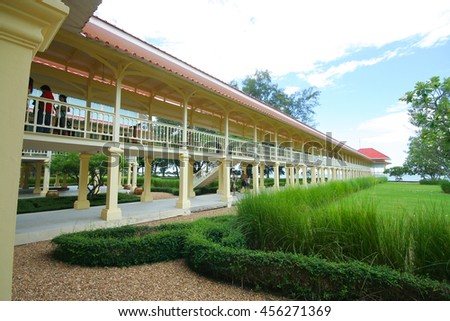 PHETCHABURI, THAILAND -JULY 27 2009:  Building of Mrigadayavan Palace, Summer palace of the king. Made from wood in thai mix Europe style. Location near beach of thai bay.