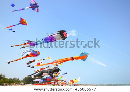 PHETCHABURI, THAILAND - MARCH 29: monster kite on the middle look like it fire cloud from its mouth at Cha-Am International Kite festival March 29, 2015 at Phetchaburi, Thailand.