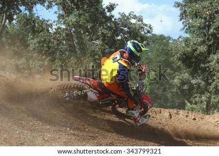 Phetchaburi, Thailand - November 22, 2015: Hole Shot Thailand Motocross 2015 tournaments, Was held at Kaeng Krachan Circuit, Phetchaburi.