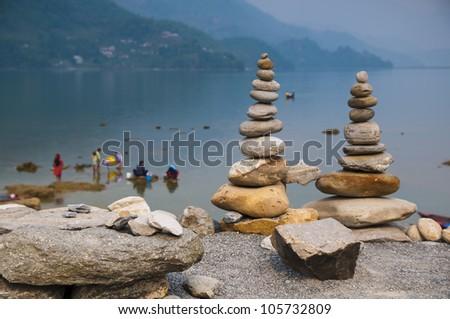 Phewa Lake in Pokhara in Nepal - stock photo