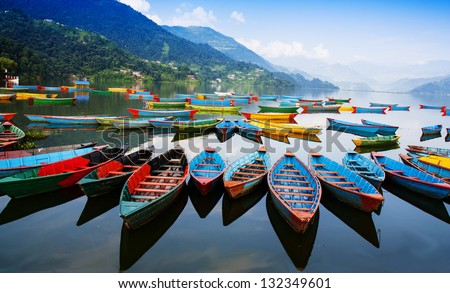 Phewa lake Nepal - stock photo
