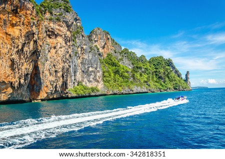 Phi Phi archipelago, a group of islands in the Andaman Sea in Thailand, without a doubt the most beautiful in the world, attracts millions of tourists - stock photo