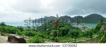 Phi Phi island panorama,  Krabi, Thailand - stock photo