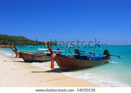 Phi Phi Island - Traditional longtail boat on the east of Tonsai Bay , Thailand