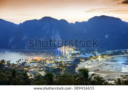 Phi Phi Islands at dusk. Located in Ao Ton Sai, Phi Phi Islands, Thailand. - stock photo