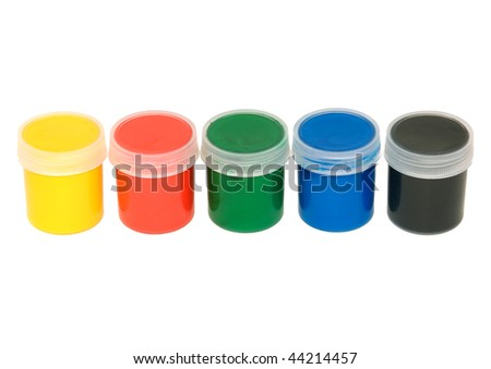phials with watercolor paint insulated on white background - stock photo