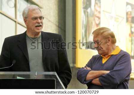 Phil Jackson and Jerry Buss at the Ceremony Honoring Los Angeles Lakers Owner Jerry Buss with the 2,323rd star on the Hollywood Walk of Fame. Hollywood Boulevard, Hollywood, CA. 10-30-06 - stock photo