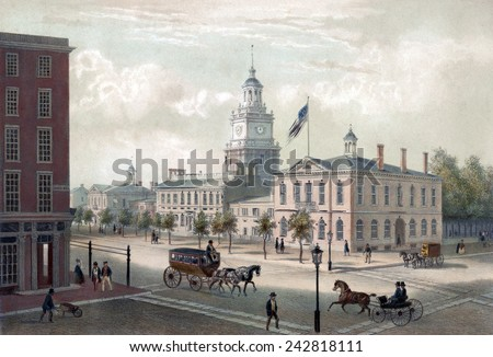 Philadelphia. A view of Independence Hall, Philadelphia. By Augustus Kollner 1848 - stock photo
