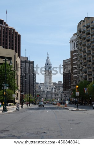 PHILADELPHIA - APRIL 25, 2016: Benjamin Franklin Pkwy with City Hall on background in Philadelphia, Pennsylvania, USA