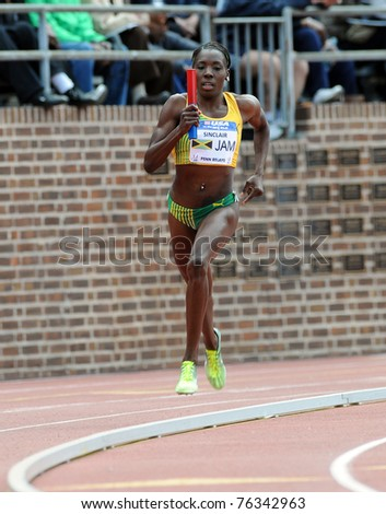 PHILADELPHIA - APRIL 30: Kenia Sinclair (Jamaica) runs the anchor in front by herself in the Women's USA vs. the World Sprint Medley Relay at the 177th Penn Relays April 30, 2011 in Philadelphia.