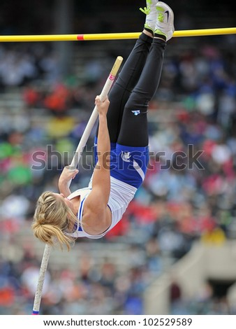 PHILADELPHIA - APRIL 26: Lexi Masterson from Hempfield goes up in the girls high school pole vault championships at the Penn Relays April 26, 2012 in Philadelphia.