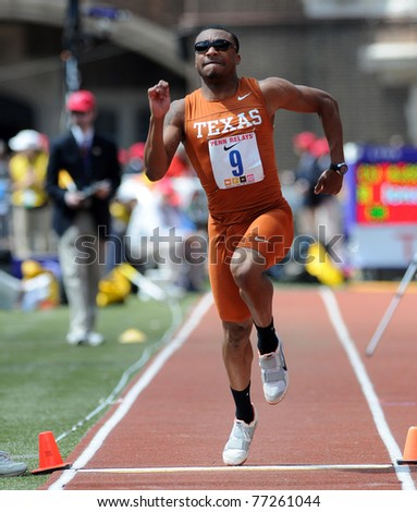 PHILADELPHIA - APRIL 30: Mark Jackson from Texas launches himself into the air during the triple jump championship at the 117th Penn Relays April 30, 2011 in Philadelphia