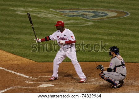 PHILADELPHIA - APRIL 6:  Ryan Howard, No. 6 of the Philadelphia Phillies, bats during home game at Citizens Bank Park vs the New York Mets on April 6, 2011 in Philadelphia, PA - stock photo