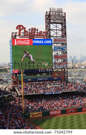 PHILADELPHIA - APRIL 7: Scoreboard at Citizens Bank Park of the National League's Phillies, on APRIL 7, 2011 in Philadelphia. This baseball only stadium opened in 2004, replacing Veterans Stadium. - stock photo