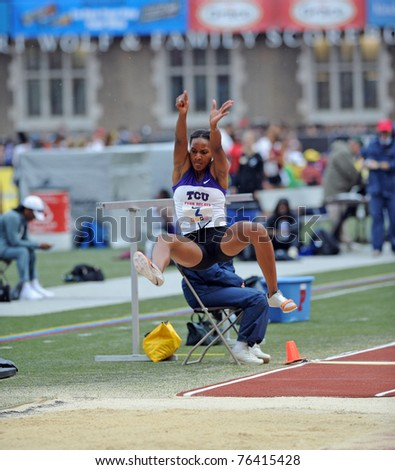 PHILADELPHIA - APRIL 28: TCU long jumper Whitney Gipson flies through the air during the ladies college competition at the 117th Penn Relayson April 28, 2011 in Philadelphia, PA