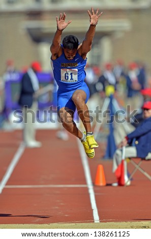 PHILADELPHIA - APRIL 27: Vincent Walter from Monroe competes in the Eastern College Mens Triple Jump at the 2013 Penn Relays April 27, 2013 in Philadelphia