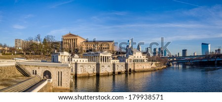 Philadelphia Art Museum and Fairmount Water Works with blue sky - stock photo
