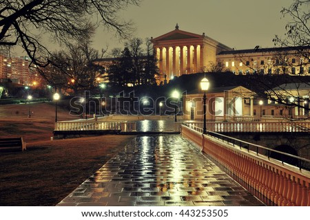 Philadelphia Art Museum at night as the famous city attractions. - stock photo