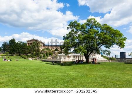 Philadelphia art museum park - Pennsylvania - USA - stock photo