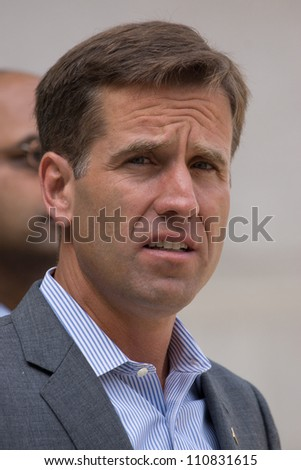 PHILADELPHIA - AUGUST 22: Delaware State Attorney General Beau Biden, discusses how the Romney-Ryan budget plan would be disastrous for Americans on August 22, 2012 in Philadelphia. - stock photo