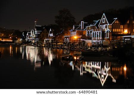 Philadelphia Boathouse Row at Night - stock photo