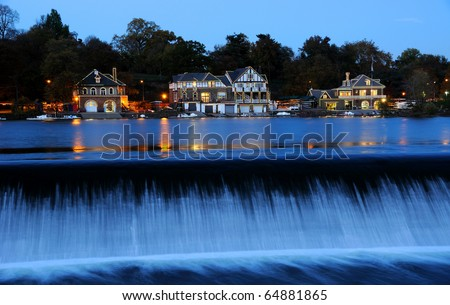 Philadelphia Boathouse Row at Twilight - stock photo